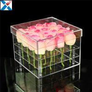 Best Durable Square Acrylic Flower Box Makeup Organizer Rose Storage Cosmetic Case wholesale