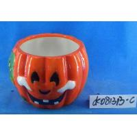 Best Pumpkin Small Ceramic Flower Pots Ghost Design 15 X 15 X 15 Cm For Halloween wholesale