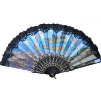 Costom Printed Lace Hand Fans for Wedding with Scenic Spot Design
