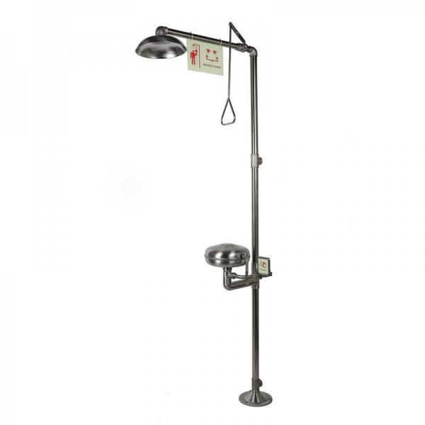 China Emergency Shower and Eyewashes, Stainless Steel, with Dust Cover, Model: ESW010MC