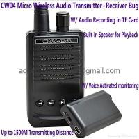 Buy cheap CW04 Mini Wireless Audio Transmitter Receiver Spy Bug W/ Voice Recording in TF from wholesalers